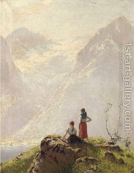 Admiring the view by Hans Dahl - Reproduction Oil Painting