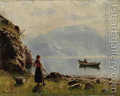 Young Girl by Norwegian Fjord by Hans Dahl - Reproduction Oil Painting