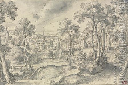 A distant view of a town, with a wooded road in the foreground by Hans Bol - Reproduction Oil Painting