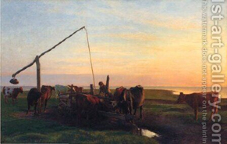 Cattle Watering At Sunrise by Hans Brasen - Reproduction Oil Painting