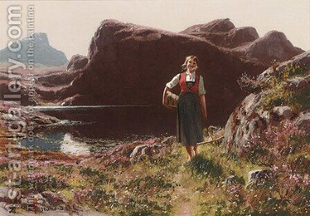 A girl on a sunlit track before a fjord 2 by Hans Dahl - Reproduction Oil Painting