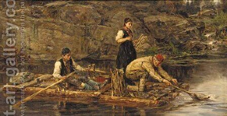 Fishing from a raft by Hans Dahl - Reproduction Oil Painting