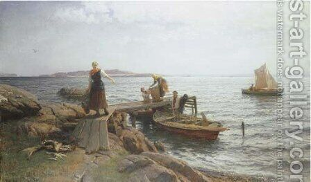 Morning by the Coast by Hans Fredrik Gude - Reproduction Oil Painting