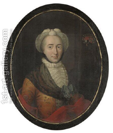 Portrait of Dorothea Allegaard Rosenkrantz by Hans Hansen - Reproduction Oil Painting