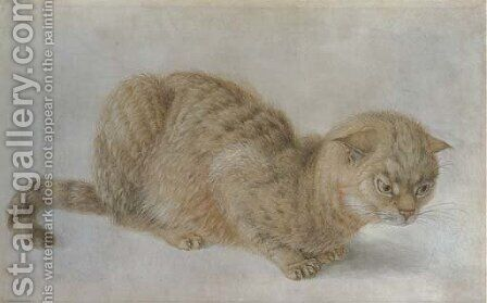 A crouching cat by Hans Hoffmann - Reproduction Oil Painting