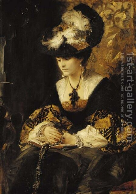Portrait of Graffin Palffy by Hans Makart - Reproduction Oil Painting