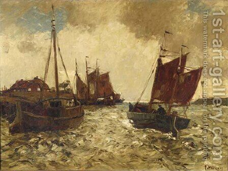 Shipping in a harbour entrance by Hans Ritter Von Petersen - Reproduction Oil Painting