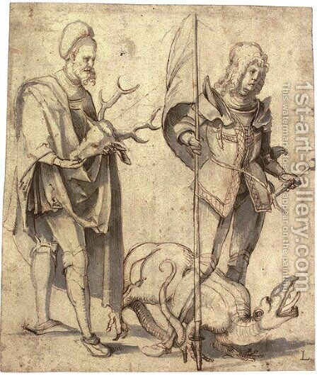 Saint Hubert and Saint George by Hans Suss von Kulmbach - Reproduction Oil Painting