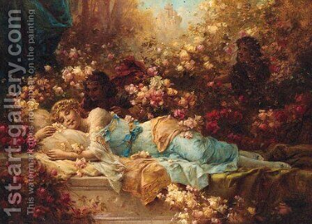 Sleeping Beauty by Hans Zatzka - Reproduction Oil Painting