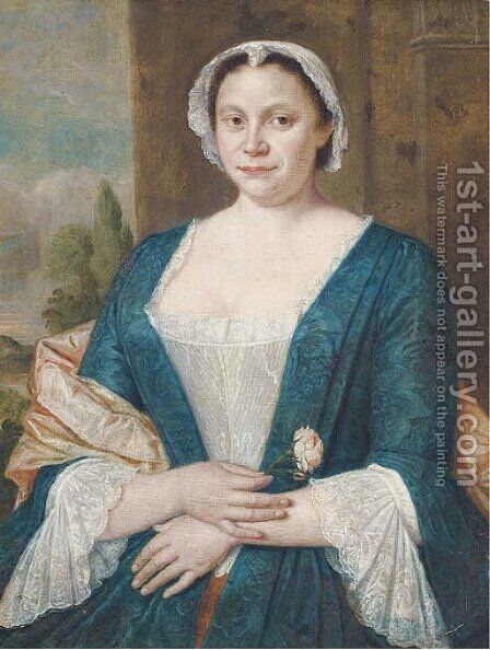 Portrait of a lady, half-length, in a blue and white dress with a pink shawl and white cap by Harmen Serin - Reproduction Oil Painting