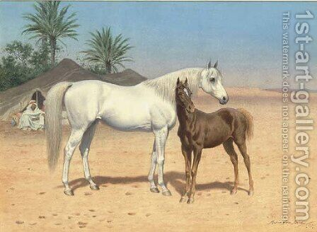 Arab horses in the desert by Harrington Bird - Reproduction Oil Painting