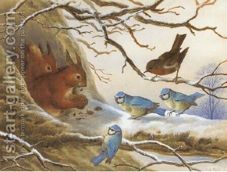 Red squirrels eating nuts on a snow covered branch before an audience of blue tits and a robin by Henry Bright - Reproduction Oil Painting