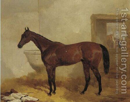 A bay racehorse in a stable by Harry Hall - Reproduction Oil Painting