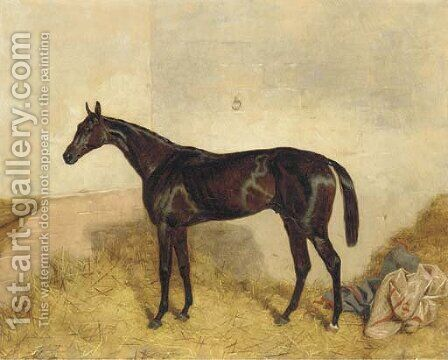 A dark bay racehorse in a loosebox by Harry Hall - Reproduction Oil Painting