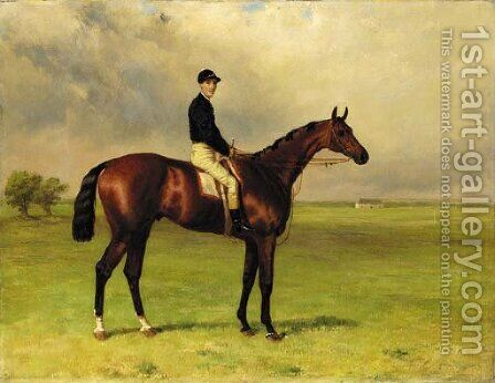Mr Angell's Scarboro with Parry up at Newmarket by Harry Hall - Reproduction Oil Painting
