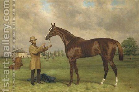 Prince Charlie, held by his jockey, John Osborne, before Bedford Lodge, Newmarket by Harry Hall - Reproduction Oil Painting