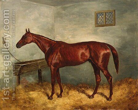 Thunderbolt, a chestnut racehorse in a stable by Harry Hall - Reproduction Oil Painting
