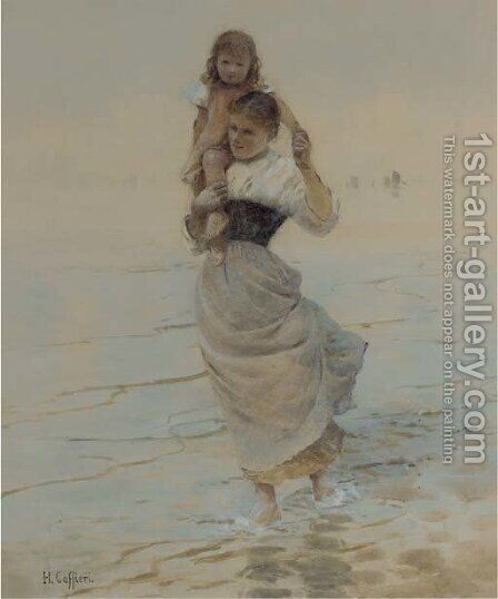 A mother carrying her child through the shallows by Hector Caffieri - Reproduction Oil Painting