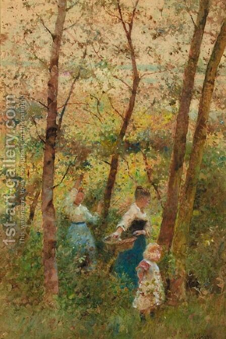 Gathering berries in a wood by Hector Caffieri - Reproduction Oil Painting