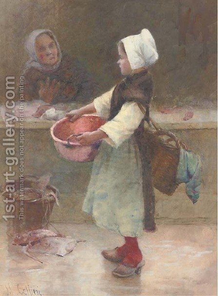 The young Breton fishergirl by Hector Caffieri - Reproduction Oil Painting