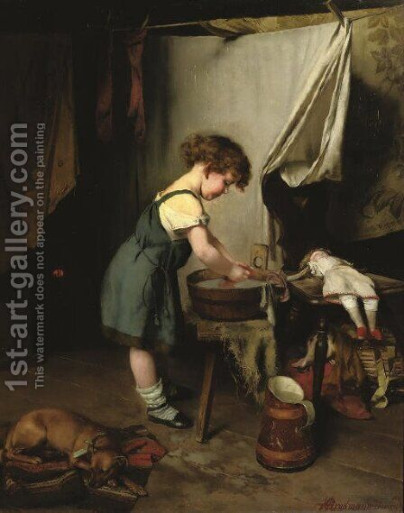 A helping hand by Hedwig Grossmann - Reproduction Oil Painting
