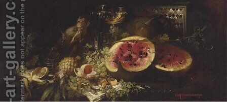 A Monkey at a table with fruit and wine by Hans Schlimarski - Reproduction Oil Painting