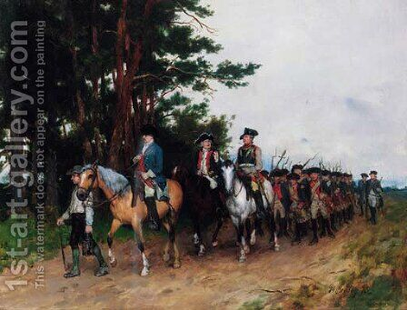 The return of the Prussian infantry by Heinrich Breling - Reproduction Oil Painting