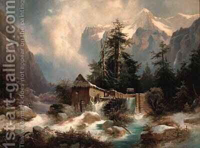 A watermill in an Alpine river landscape by Heinrich Fischer - Reproduction Oil Painting