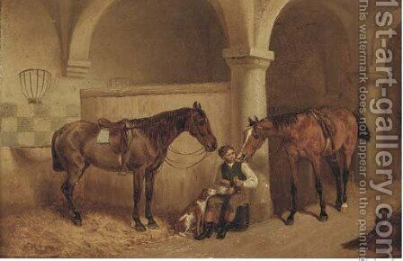 A huntsman in a stable by H.F. Lang - Reproduction Oil Painting