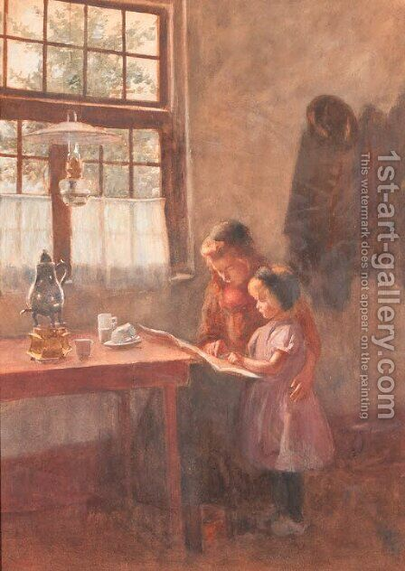Girls reading in an interior by Heinrich Martin Krabb - Reproduction Oil Painting
