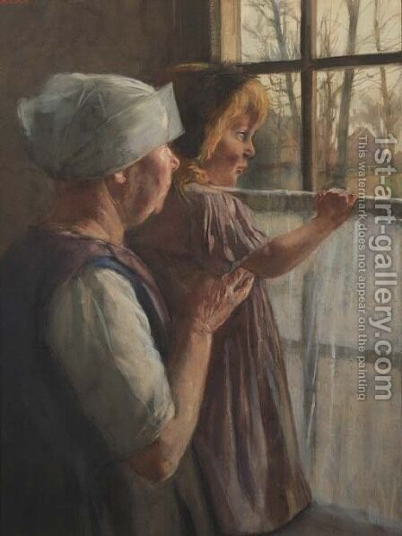 Staying over at grandmothers by Hendrik Maarten Krabbe - Reproduction Oil Painting