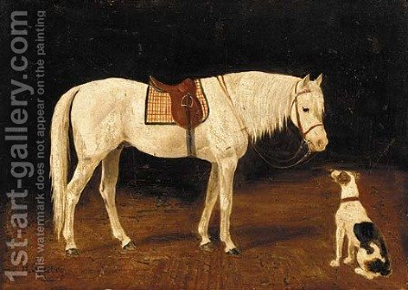 A saddled grey hunter with a dog in a yard by Heinrich Sperling - Reproduction Oil Painting