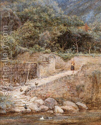 At Lynmouth, North Devon by Helen Mary Elizabeth Allingham, R.W.S. - Reproduction Oil Painting