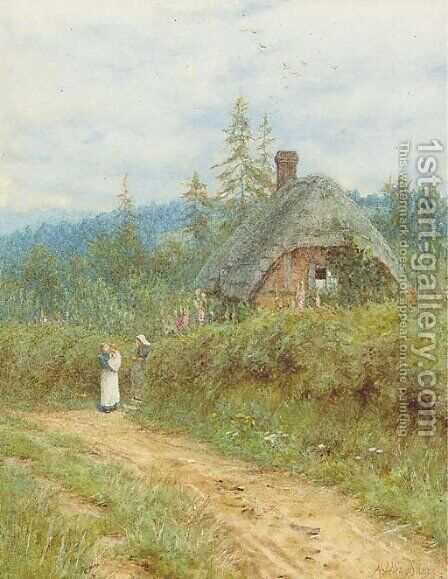 Cottage at Redlynch, Wiltshire by Helen Mary Elizabeth Allingham, R.W.S. - Reproduction Oil Painting