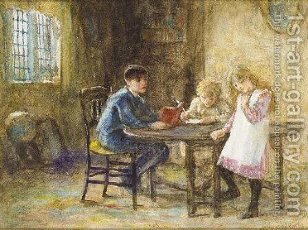 Lessons 2 by Helen Mary Elizabeth Allingham, R.W.S. - Reproduction Oil Painting