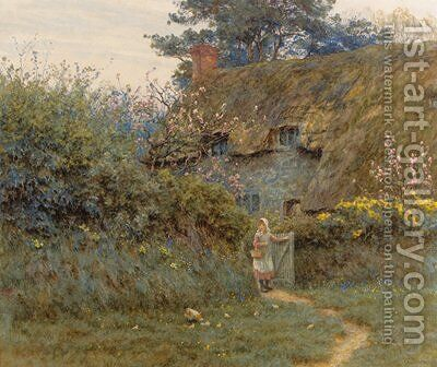 Old Cottage, near Freshwater, Isle of Wight by Helen Mary Elizabeth Allingham, R.W.S. - Reproduction Oil Painting