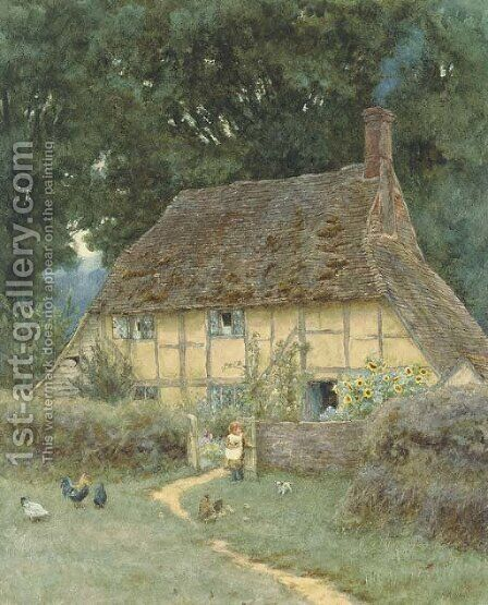 On the Brook Road, near Witley by Helen Mary Elizabeth Allingham, R.W.S. - Reproduction Oil Painting