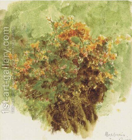 Study of berberis sunshine by Helen Mary Elizabeth Allingham, R.W.S. - Reproduction Oil Painting