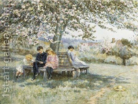 The apple tree seat by Helen Mary Elizabeth Allingham, R.W.S. - Reproduction Oil Painting