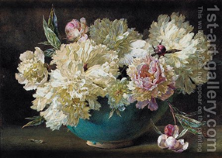 Pink and white peonies in a bowl by Helen Cordelia Coleman Angell - Reproduction Oil Painting