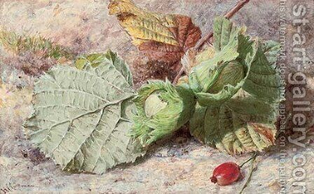 Still life of hazelnuts and a rose hip by Helen Cordelia Coleman Angell - Reproduction Oil Painting