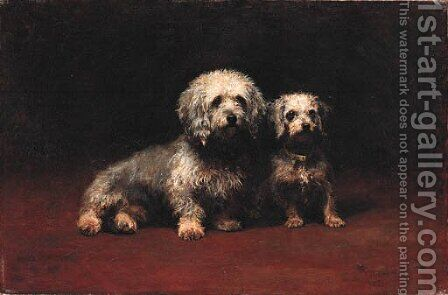 Dandie Dinmont and Puppy by Helen Cridland - Reproduction Oil Painting
