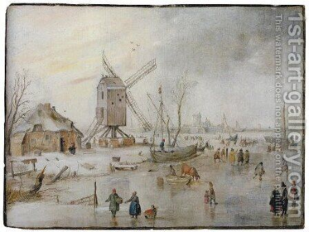 A winter landscape with figures on a frozen river near a windmill by Hendrick Avercamp - Reproduction Oil Painting