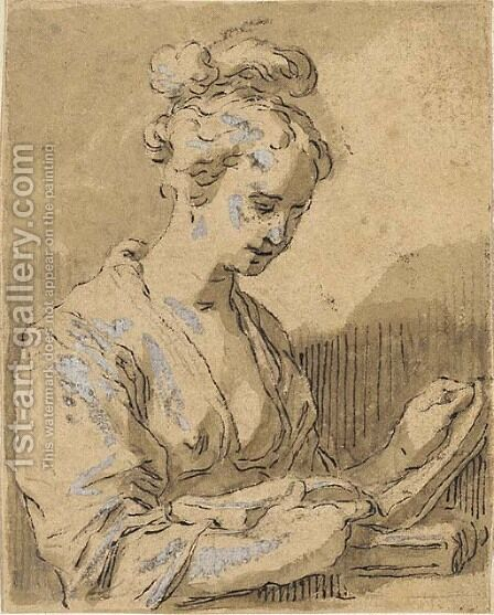 A girl, half-length, turned to the right reading from a book by Hendrick Bloemaert - Reproduction Oil Painting
