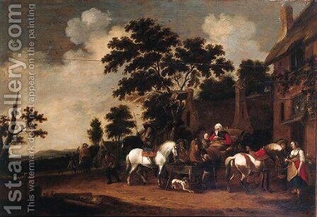 Travellers halting outside the Swan inn by Hendrick de Meyer - Reproduction Oil Painting