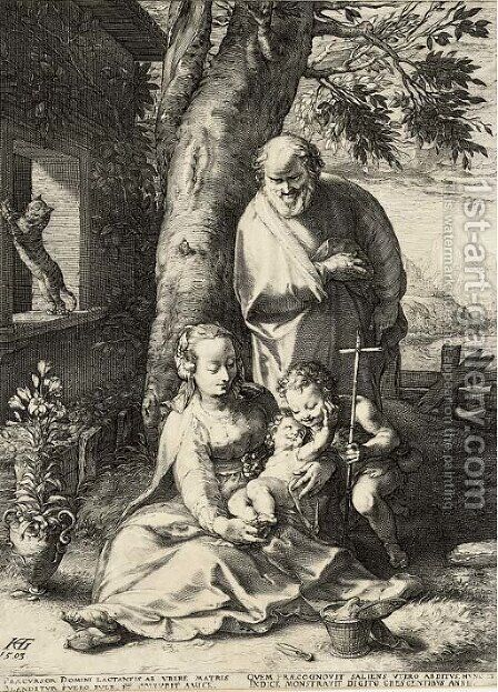 The Holy Family with Saint John by Hendrick Goltzius - Reproduction Oil Painting