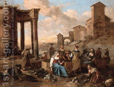Markets in Italianate towns by Hendrik Mommers - Reproduction Oil Painting