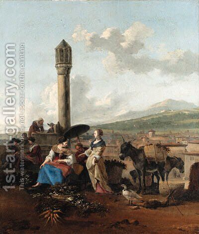 Travellers and tradesmen resting before a monument by Hendrik Mommers - Reproduction Oil Painting