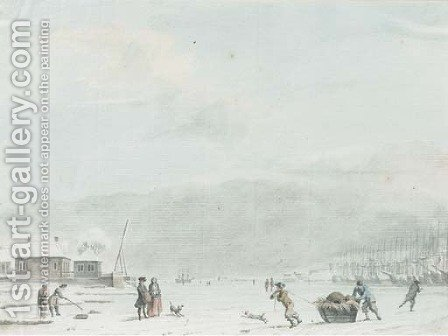 An extensive landscape with figures fishing and skating on the ice by a frozen port by Hendrik Pothoven - Reproduction Oil Painting