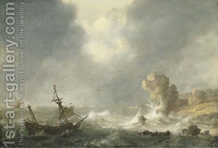 A stormy seascape by Hendrick Staets - Reproduction Oil Painting